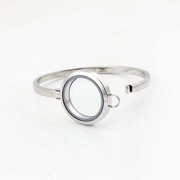 Hot Sale Design 7inch Silver Plain 316L Stainless Steel Floating Locket Bangles Bracelets 30mm Free Shipping