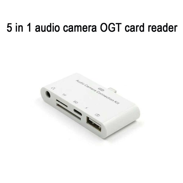 iPad Lightning card reader adapter 5 in 1 phone OTG line SD camera card 3.0 high speed TF memory for iPhone8/iPhone7