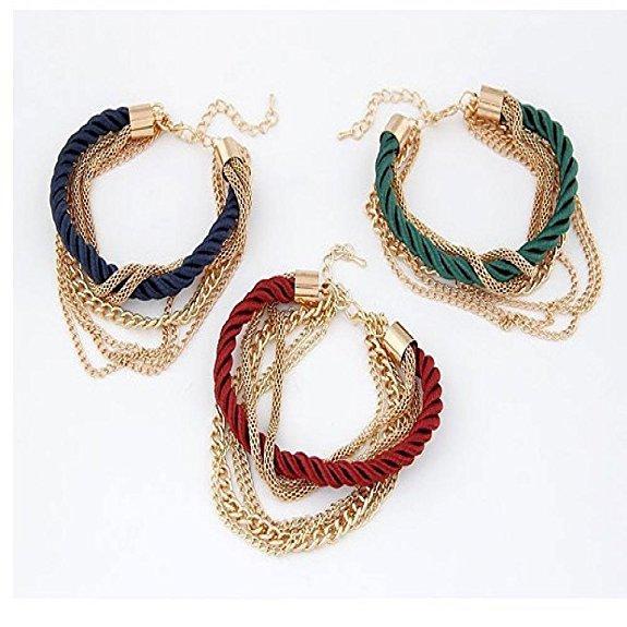 Moda Womens catena intrecciata a mano corda multistrato braccialetto Bangle Wind Bracelet regalo delle signore ornamento gioielli fascino braccialetto libero dhl H371F