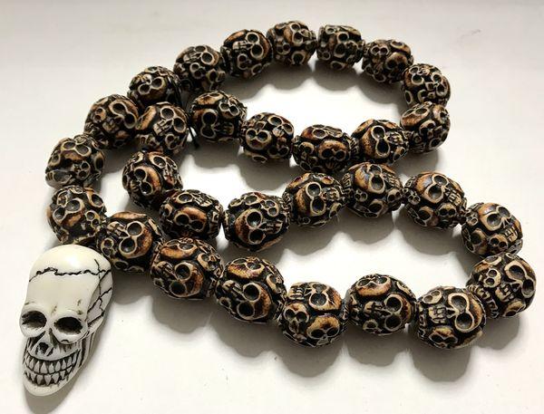 Freies Verschiffen YQTDMY verrückte neue lange Hip Hop Halskette Anhänger Schädel Nicht-Mainstream (30 Schädel Perlen + 1 Schädel Kopf)