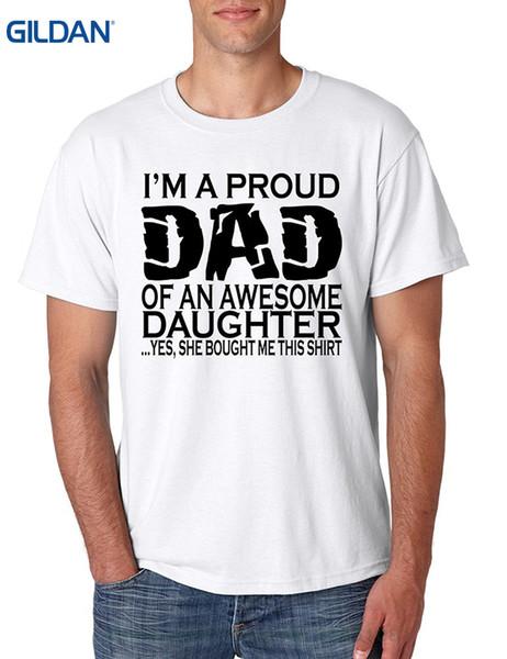 Desconto atacado Hip hop Simples Emenda T Tops Camisa dos homens T Shirt Eu Sou Um Pai Orgulhoso De Uma Engraçada Filha Engraçado Tee