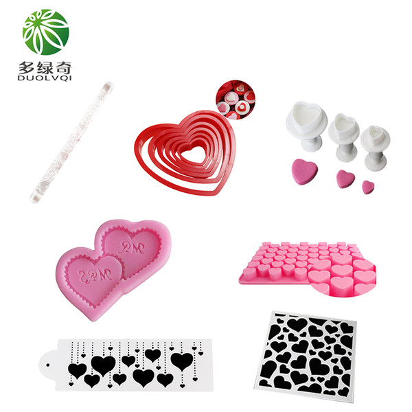 DUOLVQI Different Heart Shape Cake Decorating Tools Silicone Mold for Valentine's Day Cookie Cutter Cake Stencil Mold