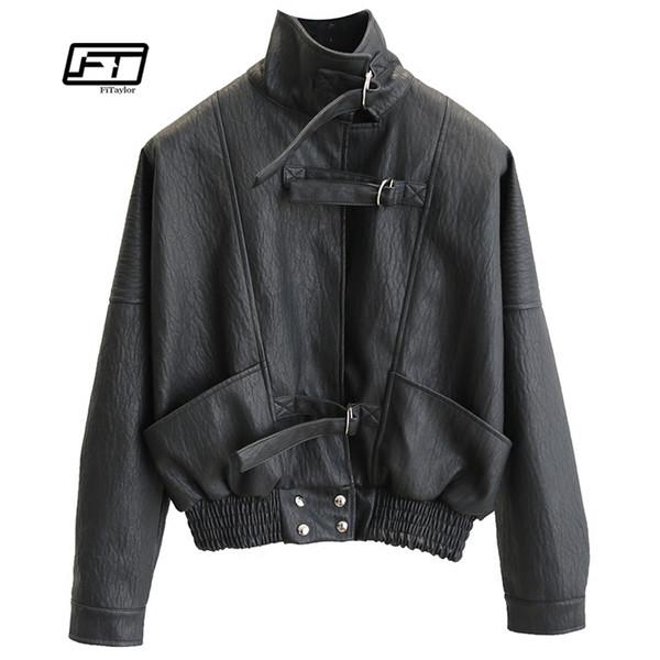 Fitaylor Harajuku Faux Leather jacket Batwing Sleeve Loose Biker Coat Casual Autumn Women PU Outwear Punk Bomber Jackets