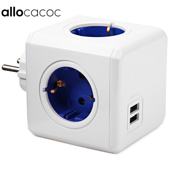 smart Allocacoc Smart Home PowerCube EU Plug 4 Outlets 2 USB Ports Adapter Power Strip Extension Adapter Multi Switched Socket