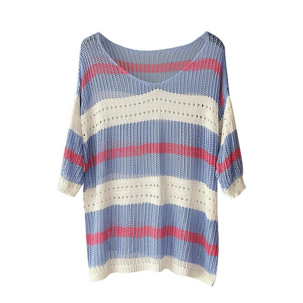 Women Autumn Hollow Out V-neck Half Sleeve Knitted Sweaters Casual Striped Patchwork Color Pullovers Loose Coat Outwear Tops