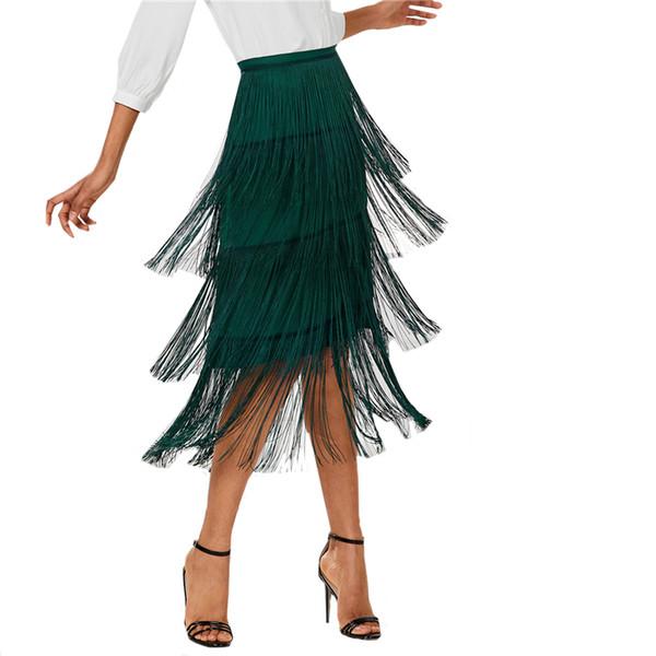 Causey jupe taille haute jupe Harajuku vert frange à plusieurs niveaux femmes plaine jupe mi-longue 2018 été bureau jupe cadeau vintage