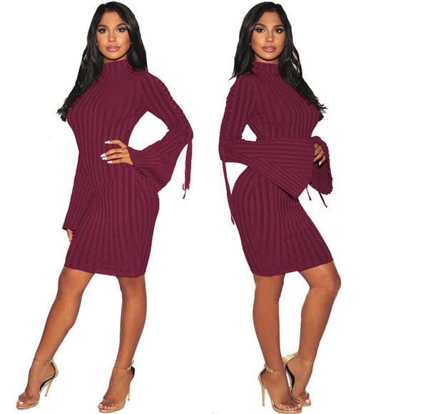 2018 Autumn models hot European and American sexy nightclub arm bandage dress female round neck pencil skirt