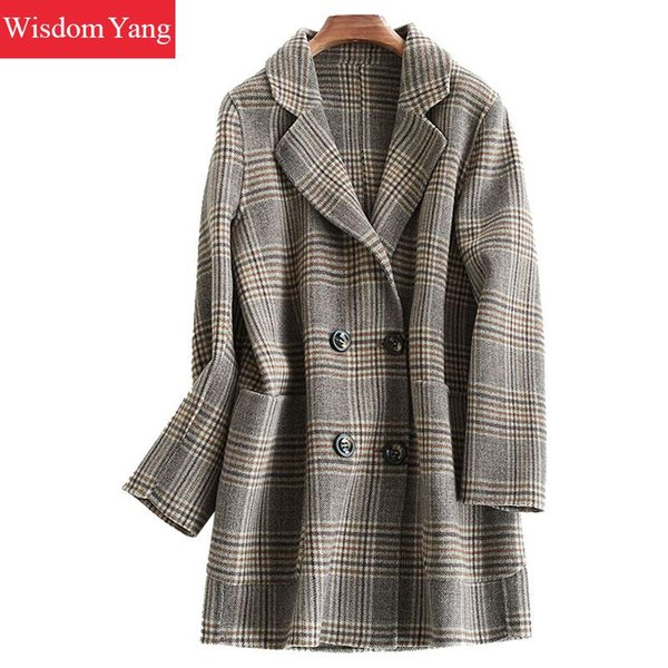 Elegant Yellow Red Plaid Women Wool Coats Casual Trench Woman Winter Warm 2018 Female Button Grey Woolen Overcoat Coat Outerwear