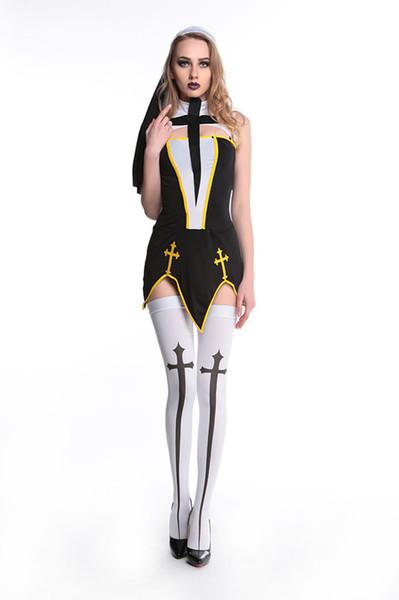 New Halloween party, European and American Games uniform role play nuns dress uniform temptation sexy short Nun dress