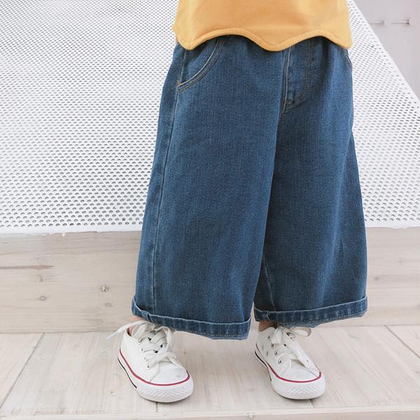 2018 nova chegada meninas denim calças largas primavera outono moda meninas calças de brim 1-7t