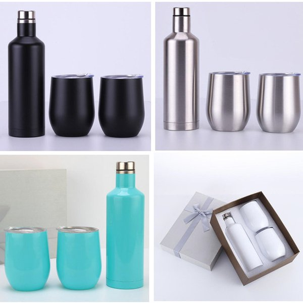 3pcs/set Stainless Steel Tumbler 500ml red wine bottle Flask Double 12 oz Stemless Egg cups with retail box Christmas gift