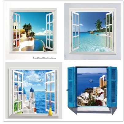 3D Removable Beach Sea 3D Window Scenery Etiqueta de La Pared Home Decor Calcomanías Mural Impermeable Arte de Pared de Papel Poster Envío Gratis