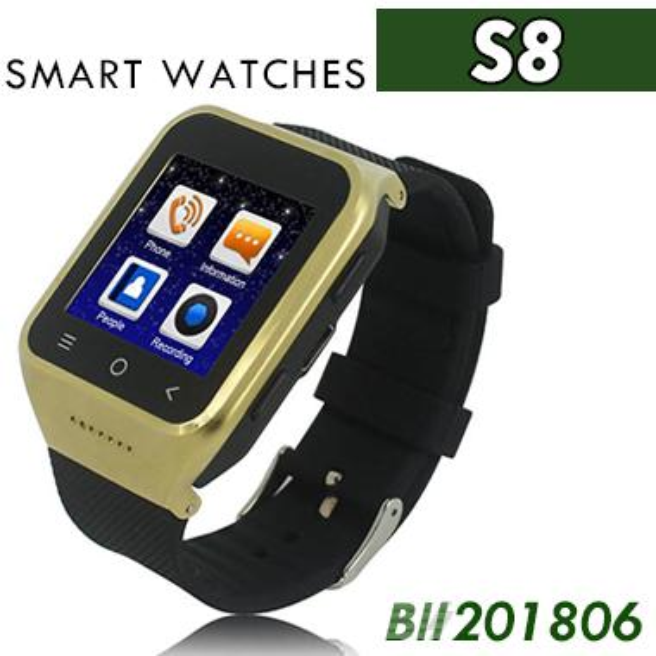 S8 Android 4.4 Smart Watch GSM-Telefon GPS MTK6572 Dual Core 512 MB 4 GB 2.0MP Kamera SIM 3G WiFi Bluetooth 4.0 WCDMA 1,54 Zoll Smartwatch 20pcs