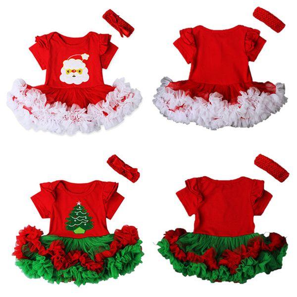 2016 Noel Yenidoğan Bebek Kız Giysileri Noel Baba Tutu Elbise Sevimli Bebek s Örgü Kek Romper Elbiseler Parti Kostüm 0-18 M