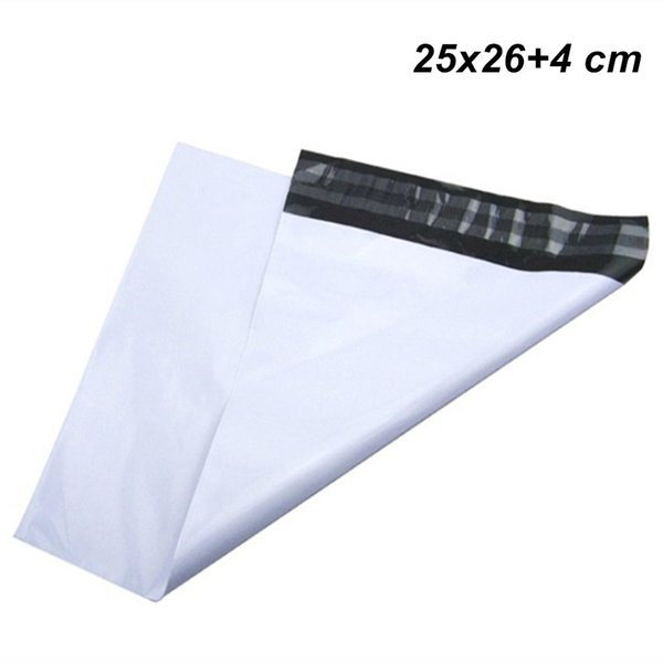 25x26+4 cm White 100pcs Adhesive Post Postal Courier Mailing Plastic Bag Self-Seal Express Shipping Packing Pouch Mailing Mail Envelope Bags