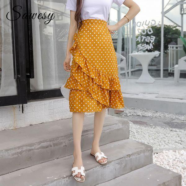 Polka Dot Midi Skirt Women Fashion 2018 Yellow Black Ruffle Chiffon Skirts Women High Waist Korean Style Casual Summer Skirts