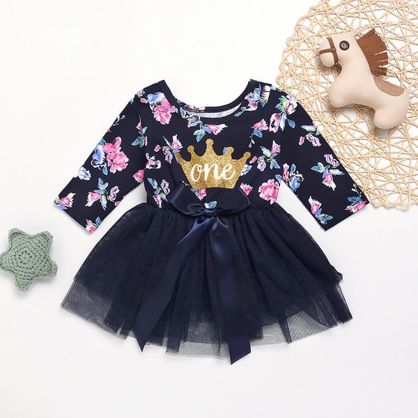 Fashion Baby Girls Golden Crown One Flower Pattern Full Printed Long Sleeve Cotton Tutu Lace Dress Birthday Party Dresses for Children 1-4T