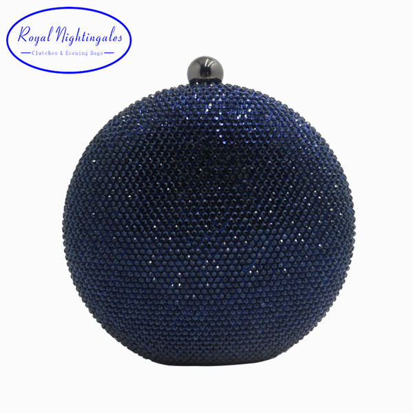 Pink/Navy Round Hard Case Crystal Box Clutch Bag Evening Bags for Womens Party Prom Wedding and Matching Shoes and Even Dress D18110106