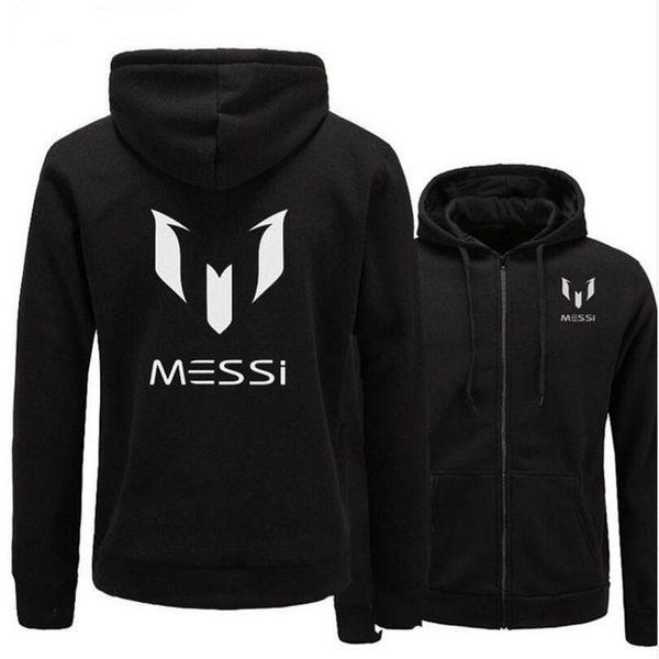Großhandel Neue Mode Marke Hoodies Männer MESSI Drucken Lässige Sportswear Mann Hoody Reißverschluss Langärmelige Sweatshirt Slim Fit Herren Hoodie