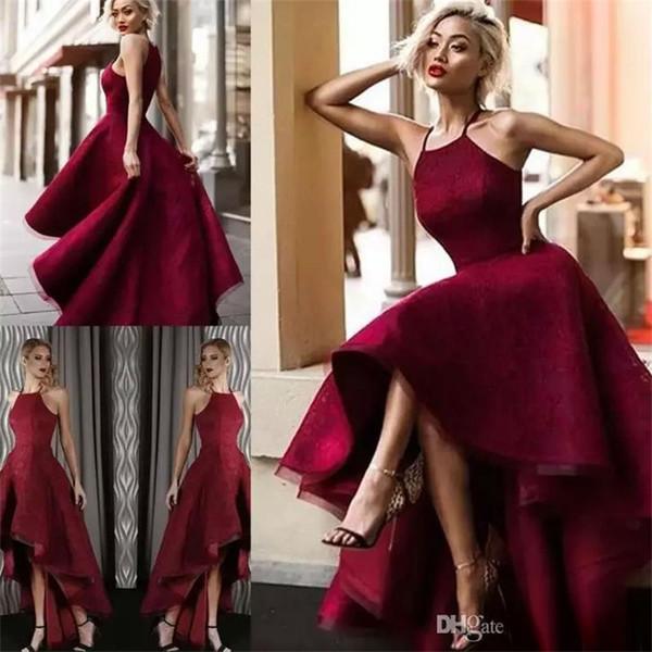 Dubai Red Hi Lo Abiti da sera 2018 Halter Neck Lace Sleeveless Prom Gowns Celebrity Party Dress