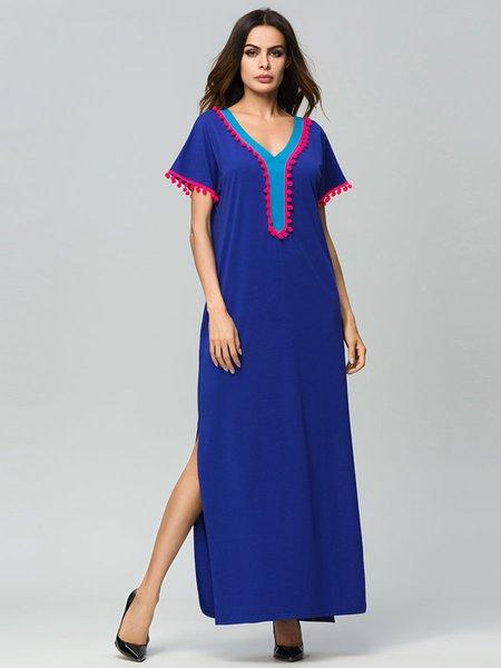 2018 Nouvelle Top qualité Luxueuse Femmes Moyen-Orient Musulmans Robe Longue Élégant style national maxi robe bleue Plus Size Robe musulmane