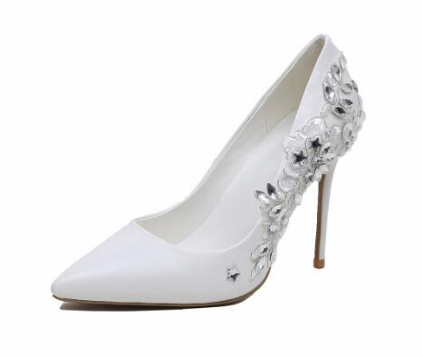 White crystal lace wedding shoes Women pointed toe super high thin heel pumps Fashion shallow high heel shoes High heels