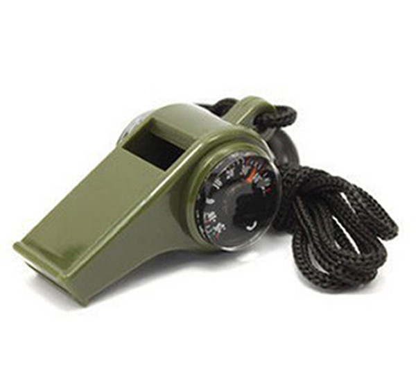 Hot selling 3in1/7in1 Whistle Compass Thermometer For Outdoor Emergency Gear Camping Survival Whistle with Led Light