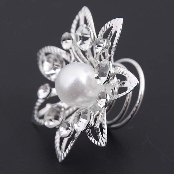 1Pc Imitated Pearl Crystal Wedding Bridal Hair Pins Twists Coils Flower Swirl Spiral Hairpins Fashion Jewelry Wholesale