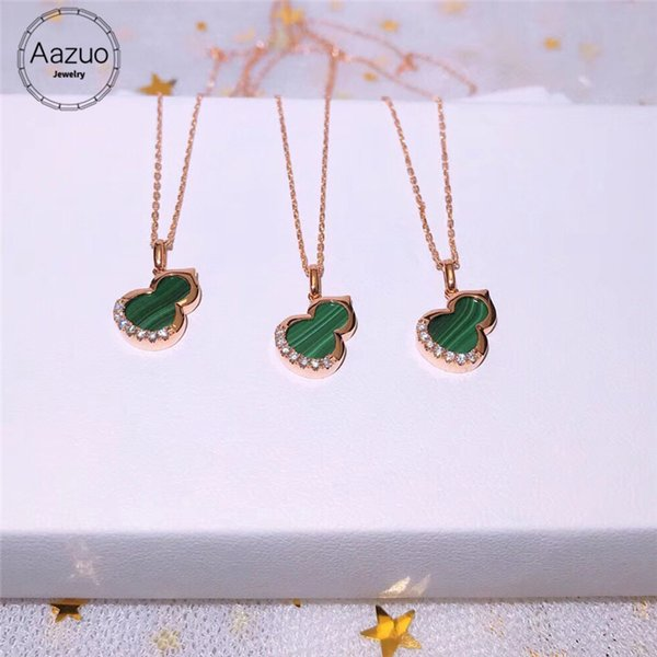 Aazuo Real 18K Rose Gold Real Diamond IJ SI Natural Malachite Gourd Pendent Necklace gifted for Women Engagement Wedding Chain