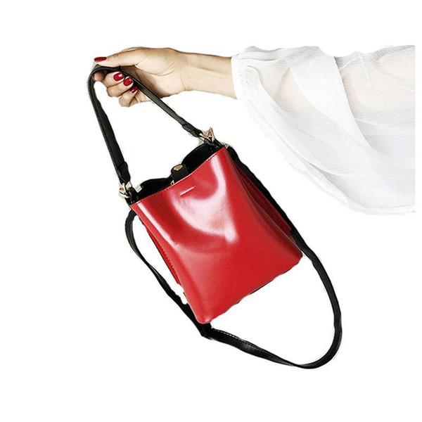Yüksek Kaliteli Deri Kadın Çanta Kadın Kova Omuz Çantaları Katı Büyük Ladys Çanta Büyük Kapasiteli En saplı Çanta Herald Moda Yeni Varış