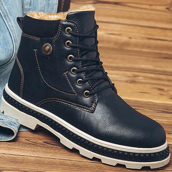 D'hiver Marron Bottes Mode Martin Solide Noir Acheter Rivet 2018 Caoutchouc Hommes Plateforme Homme En Cuir Chaussures La Gris À v0m8nwN
