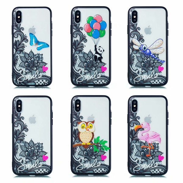 Luxury Relief Flower Lace Case For Iphone XR XS MAX X 10 8 7 Plus 6 6S Henna Paisley Mandala Hard PC+Soft TPU Owl Panda Butterfly Back Cover