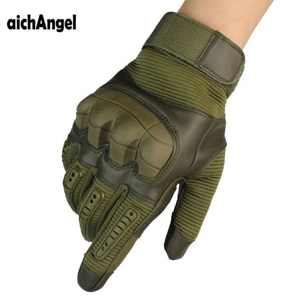 Tactical Rubber Hard Knuckle Full Finger Gloves Army Paintball Shooting  PU Leather Touch Screen Gloves