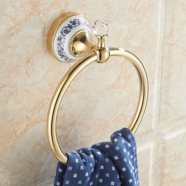 best selling Towel Ring Round Shape Wall Mounted Washcloth Holder Hanger copper Bathroom Accessories Chrome Bath Towel Bar