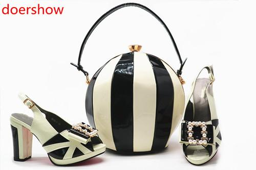 Africa Summer Style Woman Shoes And Bag Set Fashion Rhinestone High Heel Shoes And Bag Set For Evening Party Size 38-42!MQ1-9