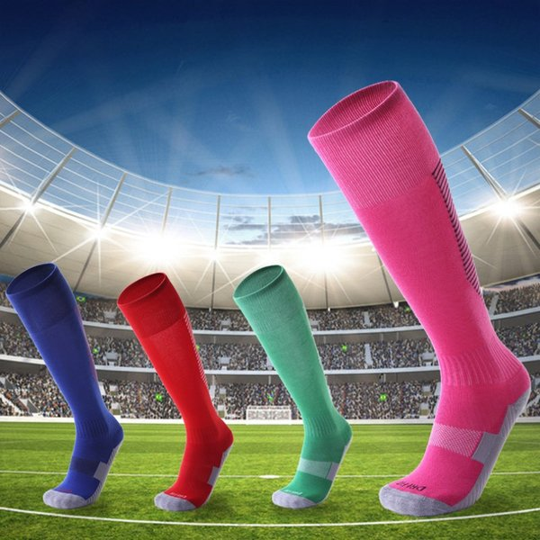 Adult Kids Professional Sports Soccer Socks Color Stripe Long Stocking Knee High Football Volleyball breathable Elastic Socks