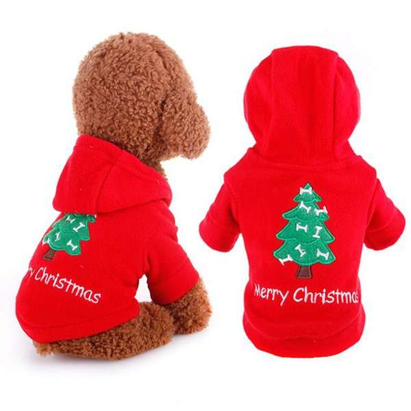 Pet Dog Hoodies Merry Christmas Festive Costume Cute Teddy Outwear Red Sweaters For Dog Cat Happy New Year Apparel