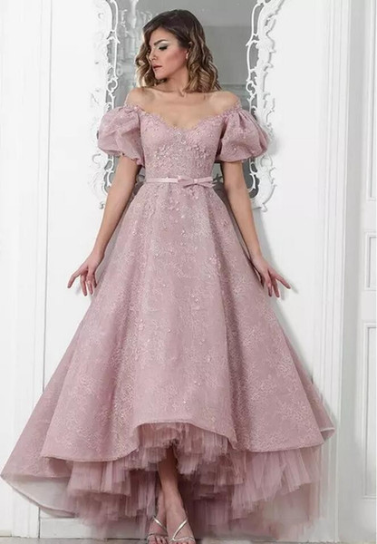 Ball Gown Prom Dresses 2018 New Arrival Pink Lace Short Sleeve Off the Shoulder Ankle Length Elegant Formal Evening Gowns Custom Made Tiered