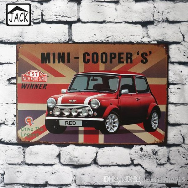 Mini Red Car Tin Poster 20x30cm Metal Tin Signs Vintage Plaque Advertising Shop Bar Club Garage Home Wall Decor Tin Paintings