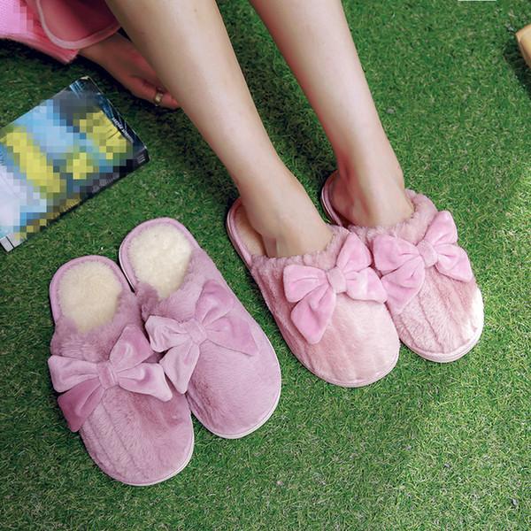 YMECHIC Pink Purple Bowtie Lolita zapatos de invierno para niñas damas talón plano felpa casa zapatillas mujeres encantadoras interior casa deslizador