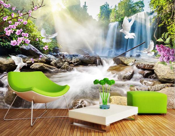 Großhandel Moderne 3D Tapete Wohnzimmer Wand Wasserfall Landschaft Kinder  Tapete Wohnkultur Wasserdichte Tapete Für Badezimmer Hohe Qualität Von ...