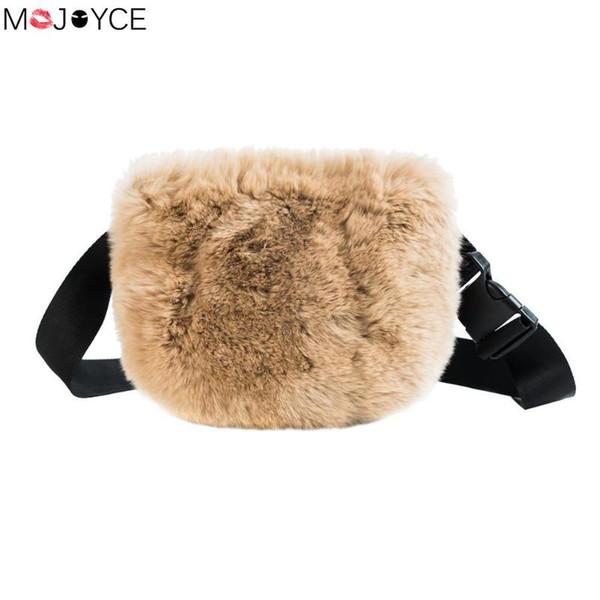 Moda Outono Saco Da Cintura De Pelúcia para As Mulheres Macias Bolsas de Tecido Baú Fanny Tecido Bolso Novo Design de Inverno Sacos de Ombro