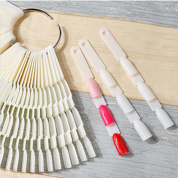 150PCS Transparent/Natural Fan Board Display Nail Art Tips False Round Hoop Stick Practice for Polish Gel Showing Tools
