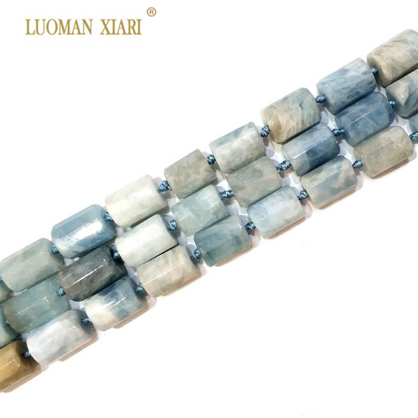 100% Natural Aquamarin Cylindrical Shaped Facted Stone Beads For Jewelry Making DIY Bracelet, Necklace Size 11*16 mm Strand 15""