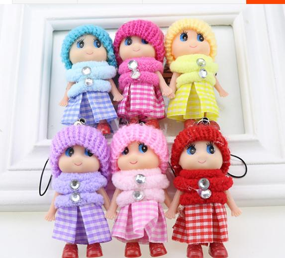 8cm Kids Toys Dolls Soft Interactive Baby Dolls Toy Mini Doll For Girls 6 Colors Mix free shipping