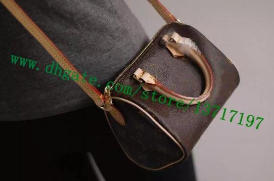 Top Grade Brown Canvas Coated Real Leather Lady Shoulder Bag NANO SPEEEDY M61252 Women Messenger Handbag Cosmetic Pack