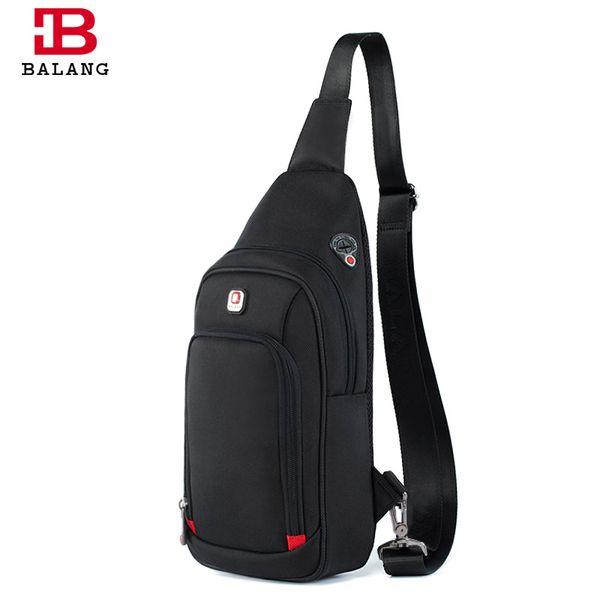 2018 New Designer BALANG Brand Waterproof Men Leisure Messenger Bags Business Shoulder Bags Black Chest Packs for IPAD Mini