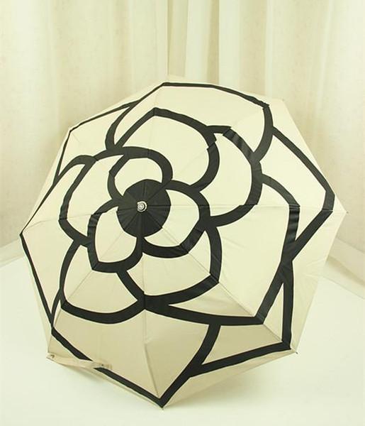 2018luxury Classic pattern Camellia Flower logo Umbrella For Women 3 Fold Luxury Umbrella with gift Box And Bag Rain Umbrella VIP party gift