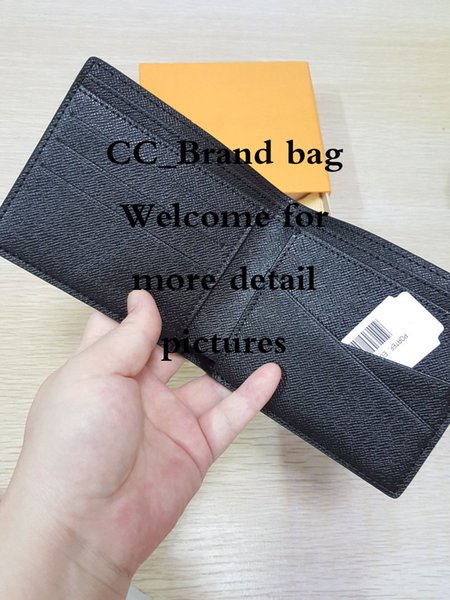 MULTIPLE Wallet Leather Men Wallet high quality new arrival fashion famous classical designer checker short brand mens purse with card holde
