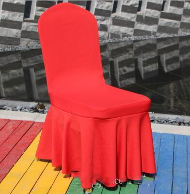 Elastic Spandex Chair Covers Skirt Universal Dining Seat Cover for Weddings Party Banquet Hotel Polyester Fabric